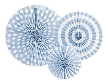 3 Deko-Rosetten hellblau-weiß – Bild 1