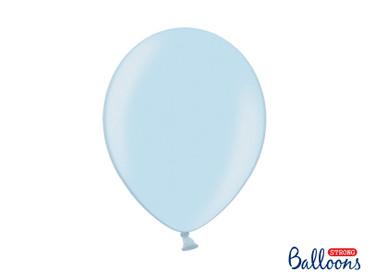 10 Metallic-Ballons hellblau