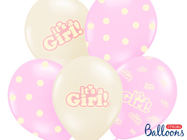 6 Ballons It´s a girl rosa-weiß – Bild 1