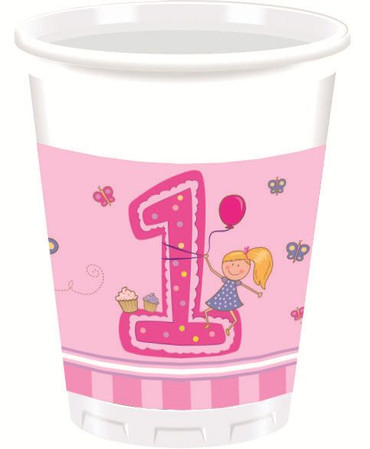 8 Becher First Birthday rosa