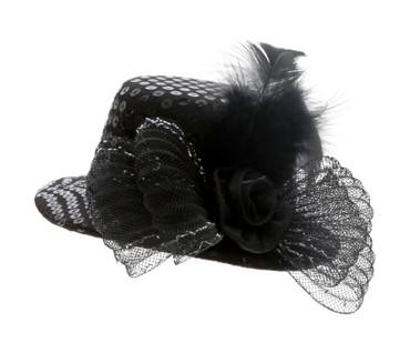 Minihut Paillette schwarz