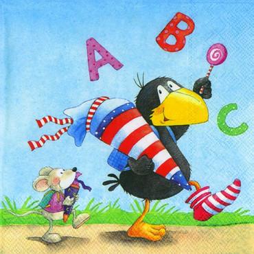 20 Lunch-Servietten Rabe Socke ABC Schulanfang Einschulung