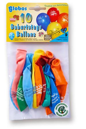 10 Ballons mit Geburtstags-Aufdruck