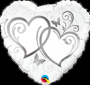 Folienballon Herzen silber