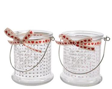 Teelichtglas Love mit Schleife