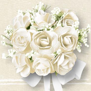 20 Lunch-Servietten White Roses