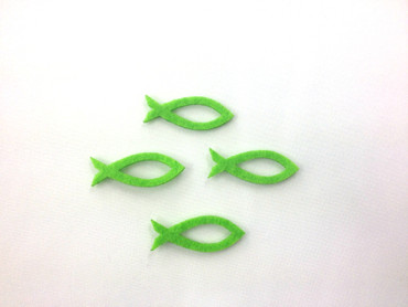 14 Fische offen Filz apfelgrün