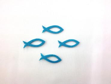 12 Fische offen Filz türkis-Glitter