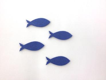 16 Fische geschlossen Filz royalblau