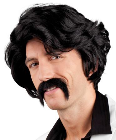 Perücke Chuck mit Schnurrbart schwarz