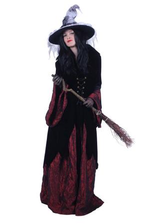 Kleid Hexe Halowina schwarz-rot