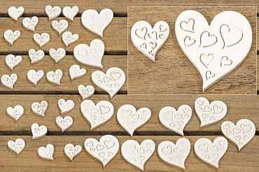 24 Streu-Herzen Holz natur