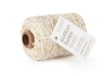 Kordel Cotton Lurex Twist 50m creme-gold
