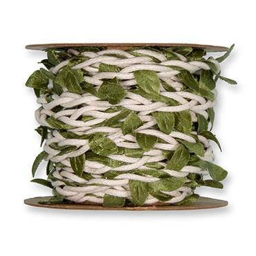 Flechtkordel Blätter creme-grün 5m – Bild 2