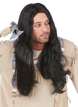 Perücke Indianer schwarz