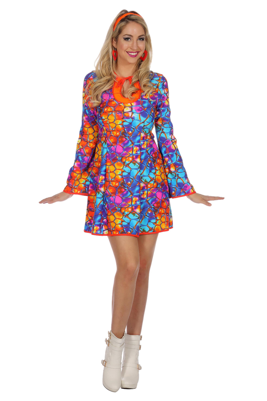 Hippie Kleid blau orange