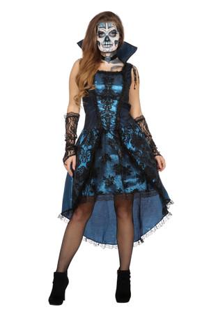 Kleid Vampir-Lady blau