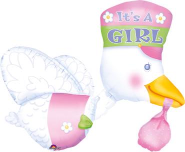 Folienballon Storch rosa It's a girl