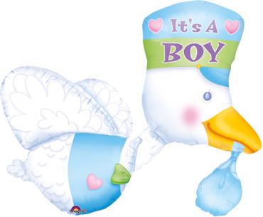 Folienballon Storch hellblau It's a boy