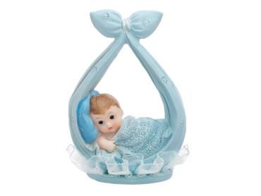 Baby-Figur in Tuch hellblau