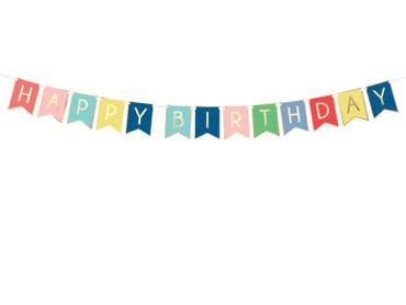 Wimpelkette Happy Birthday bunt-gold