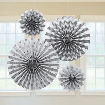 4 Glitter-Papierfächer silber
