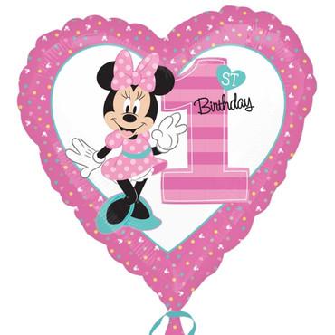 Folienballon Herz Minnie Mouse 1. Geburtstag