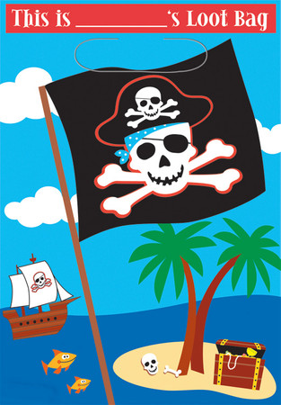 8 Partybeutel / Geschenktütchen Pirat