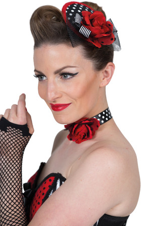 Halsband / Choker Rose schwarz-rot