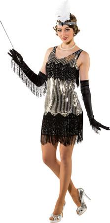 Paillettenkleid mit Fransen schwarz-silber – Bild 1