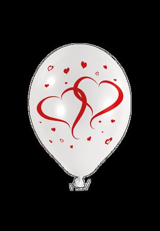 50 Rundballons weiss mit roten Herzen