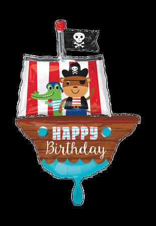 Folienballon Happy Birthday Piratenschiff