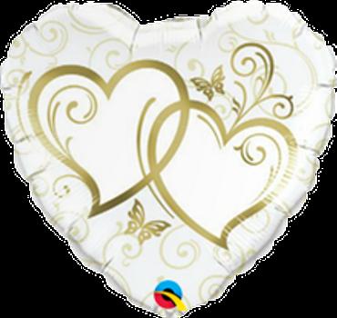 Folienballon Entwined Hearts - Verschlungene Herzen