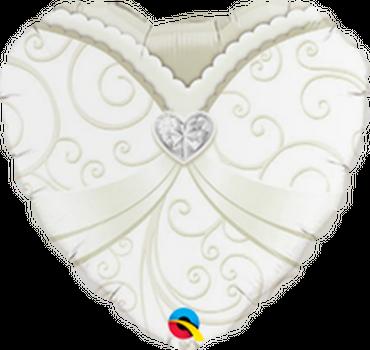 Folienballon Herz Brautkleid