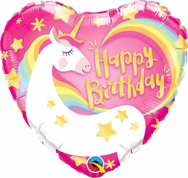Folienballon Herz Happy Birthday Einhorn