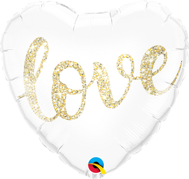 Folienballon Herz love glitter