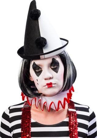 Pierrot-Hut schwarz/weiß