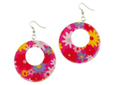 Hippie-Ohrringe rot mit Blumen – Bild 2
