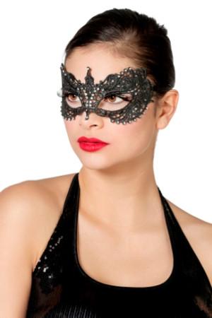 Halbmaske aus Stoff schwarz