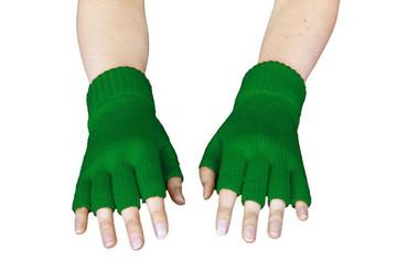 Strickhandschuhe fingerlos grün – Bild 2