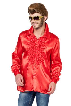 Rüschenhemd Satin rot