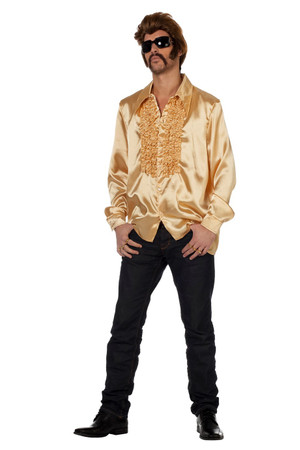 Rüschenhemd Satin gold