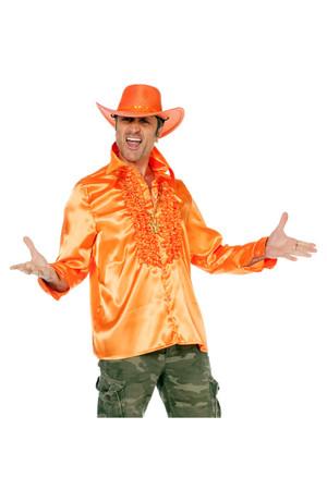 Rüschenhemd Satin orange – Bild 1