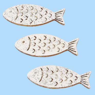 6 Holzfische weiß mit Glimmer