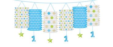 Lampiongirlande 1. Geburtstag blau