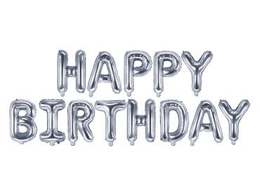 Folienschriftzug Happy Birthday silber