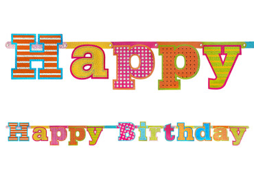 Girlande Happy Birthday holo