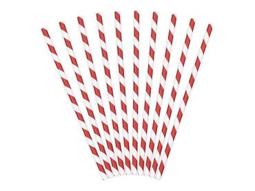 10 Papier-Trinkhalme rot-weiß