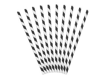 10 Papier-Trinkhalme schwarz-weiß