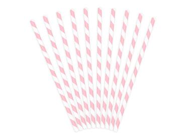 10 Papier-Trinkhalme rosa-weiß